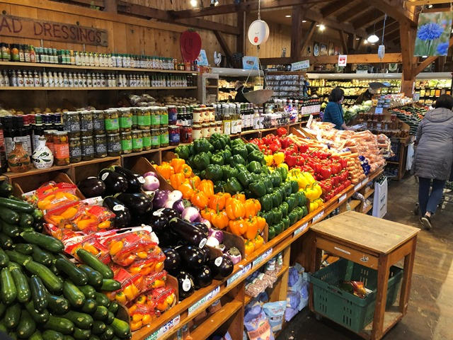 One of the produce aisles at Wilson Farm, Lexington, MA.
